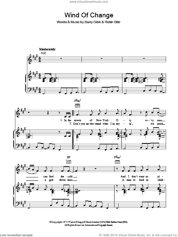 Wind Of Change sheet music for voice, piano or guitar by Barry Gibb, Bee Gees and Robin Gibb. Score Image Preview.