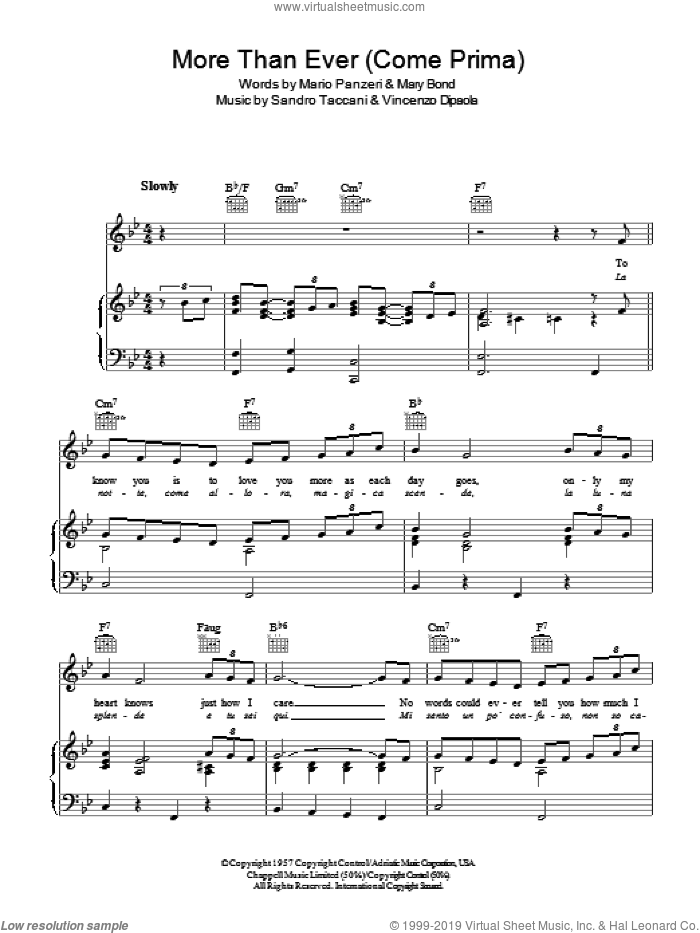 More Than Ever (Come Prima) sheet music for voice, piano or guitar by Marino Marini Quartet. Score Image Preview.