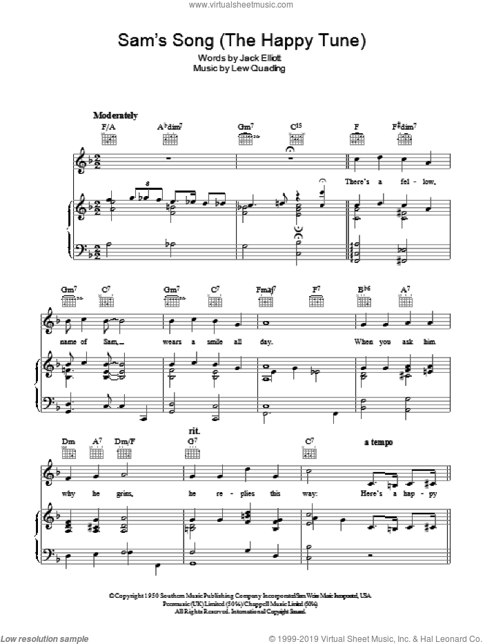Sam's Song (The Happy Tune) sheet music for voice, piano or guitar by Bing Crosby, Lew Quadling and Jack Elliott, intermediate skill level