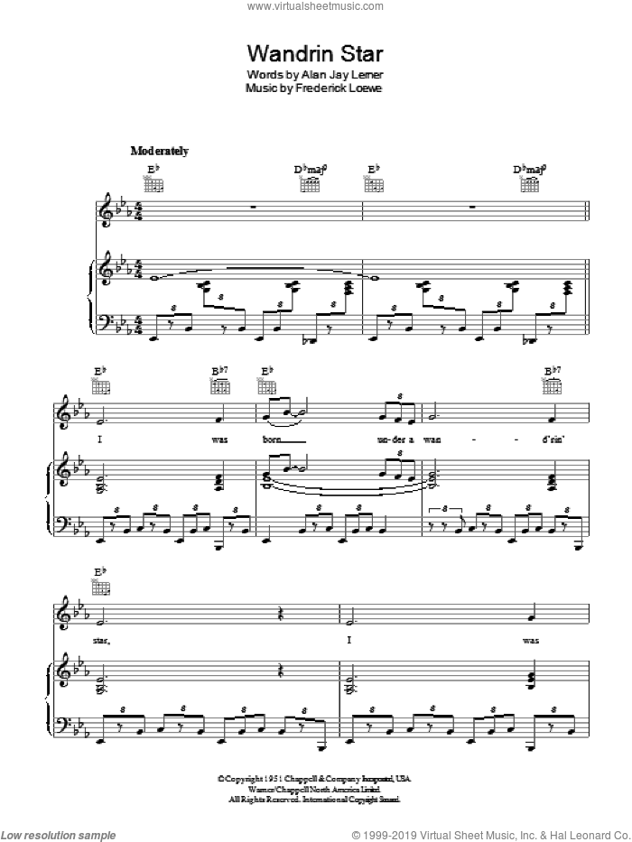 Wandrin Star sheet music for voice, piano or guitar by Frederick Loewe and Alan Jay Lerner. Score Image Preview.