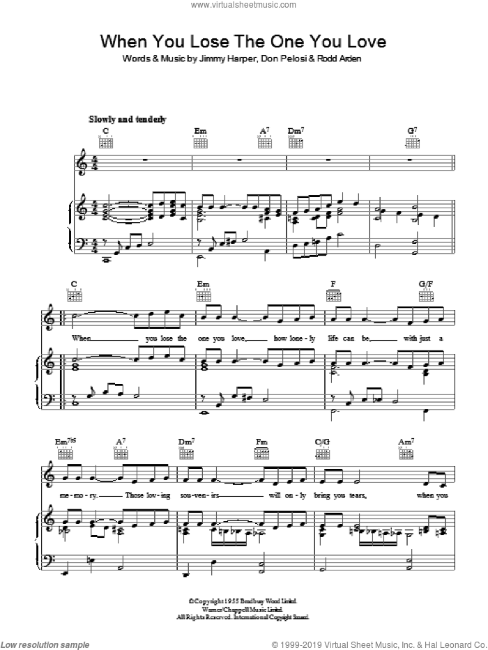 When You Lose The One You Love sheet music for voice, piano or guitar by Don Pelosi. Score Image Preview.