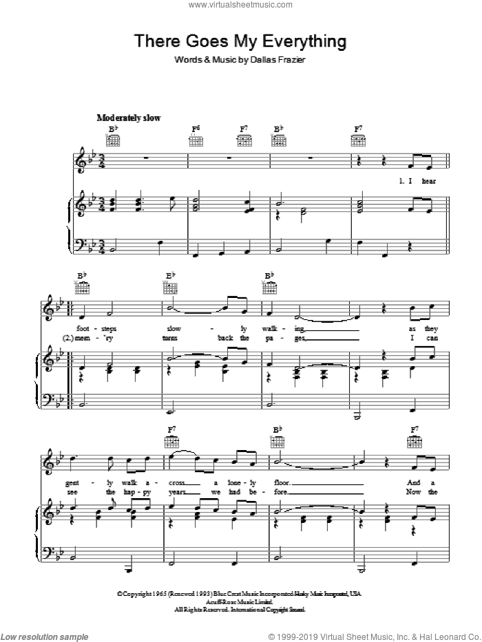 There Goes My Everything sheet music for voice, piano or guitar by Elvis Presley and Jack Greene, intermediate