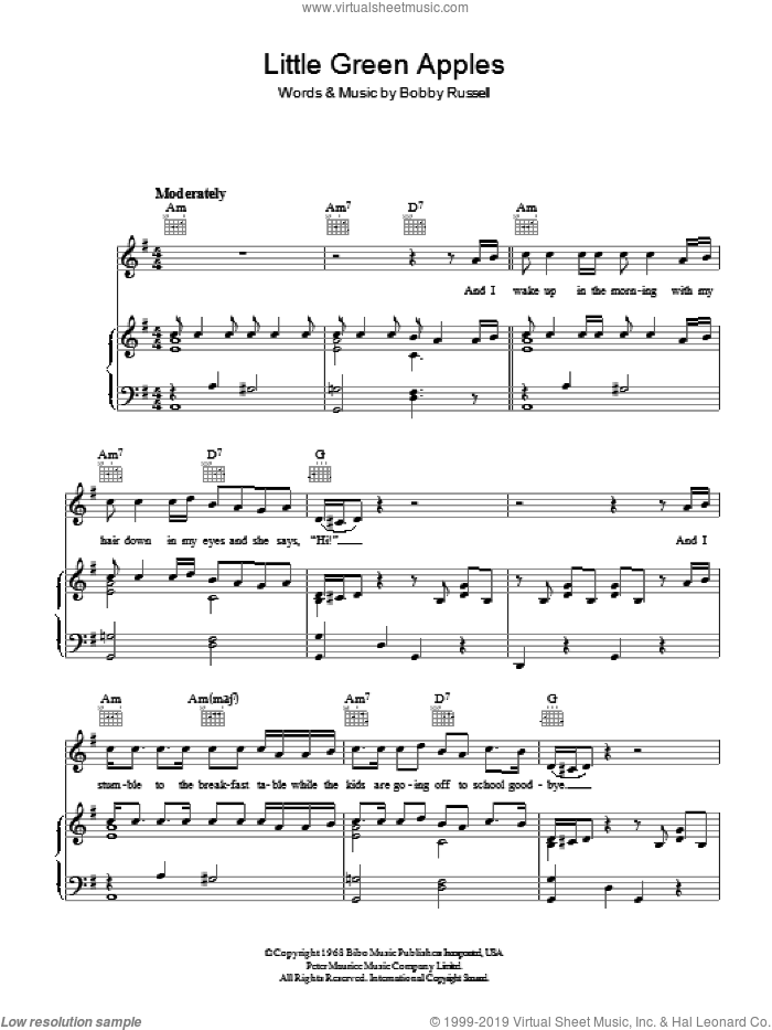 Little Green Apples sheet music for voice, piano or guitar by Tony Bennett and Bobby Russell, intermediate skill level