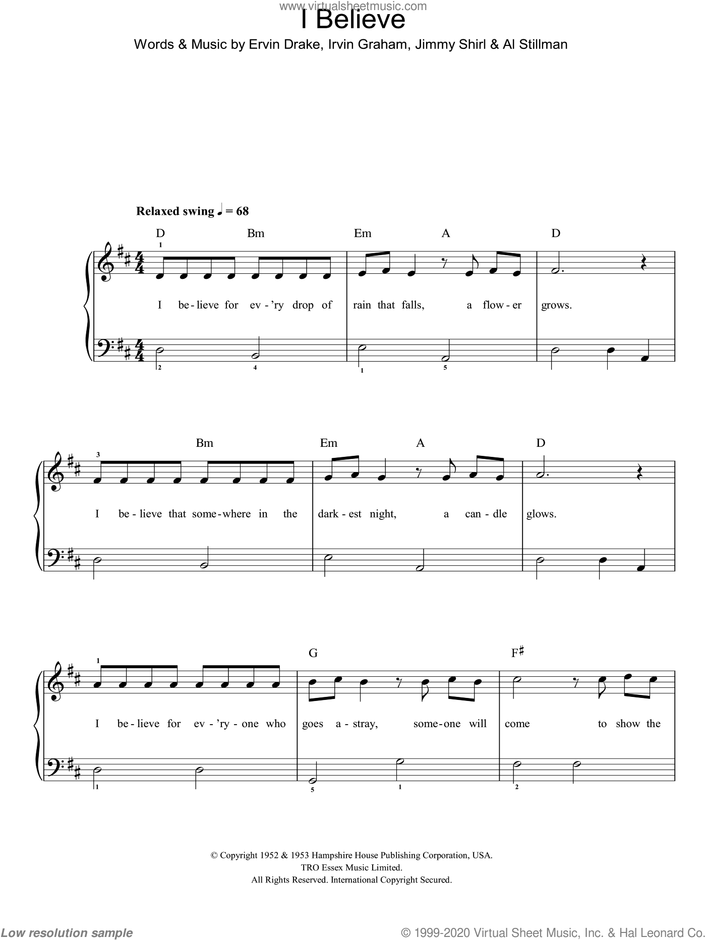 I Believe sheet music for piano solo (chords) by Al Stillman