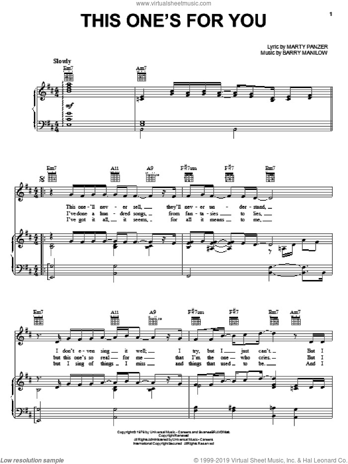 This One's For You sheet music for voice, piano or guitar by Marty Panzer