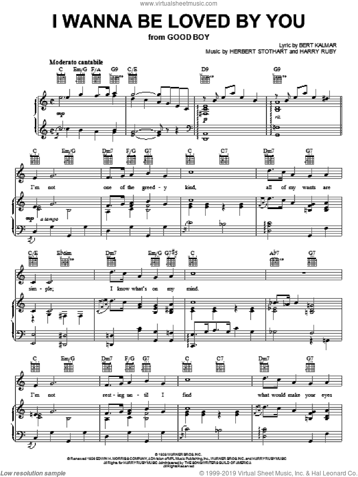 I Wanna Be Loved By You sheet music for voice, piano or guitar by Marilyn Monroe, Bert Kalmar, Harry Ruby and Herbert Stothart, intermediate skill level