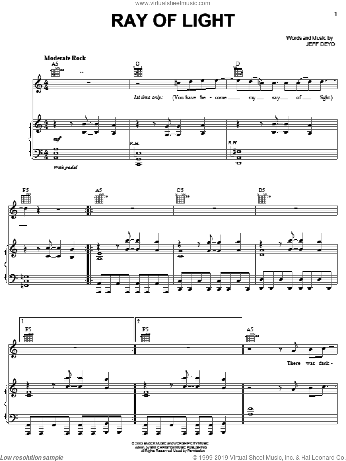 Ray Of Light sheet music for voice, piano or guitar by Jeff Deyo, intermediate
