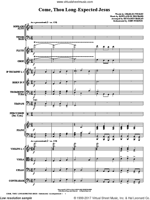 Come, Thou Long-Expected Jesus (COMPLETE) sheet music for orchestra by Rowland Prichard