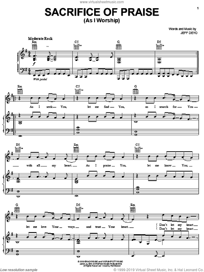 Sacrifice Of Praise sheet music for voice, piano or guitar by Jeff Deyo, intermediate. Score Image Preview.