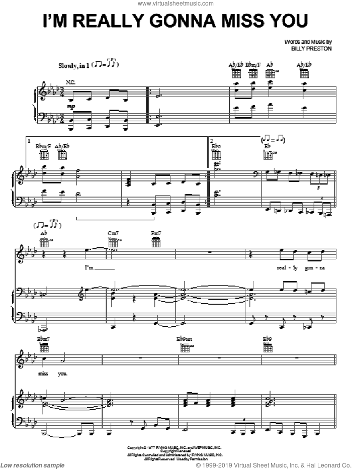 I'm Really Gonna Miss You sheet music for voice, piano or guitar by Billy Preston, intermediate voice, piano or guitar. Score Image Preview.
