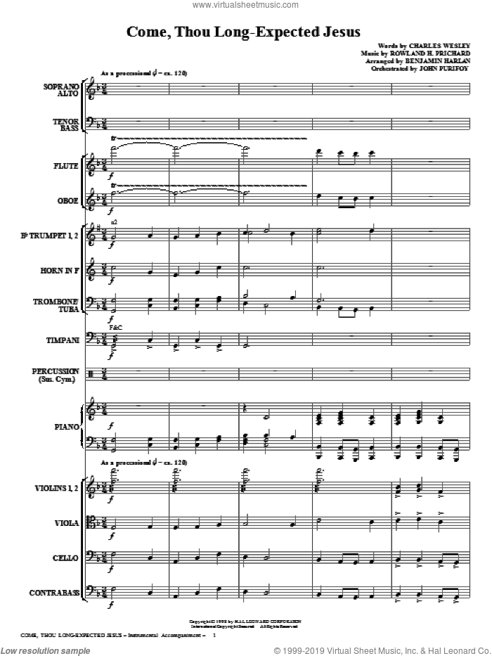 Come, Thou Long-Expected Jesus (COMPLETE) sheet music for orchestra/band (Orchestra) by Rowland Prichard, Benjamin Harlan and Charles Wesley, intermediate skill level