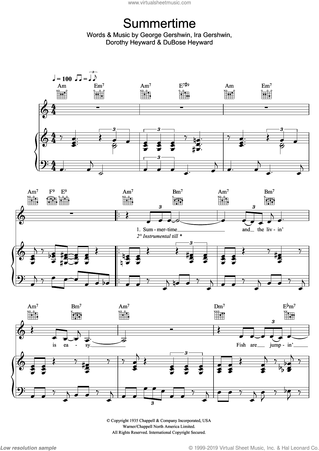 Summertime sheet music for voice, piano or guitar by Ira Gershwin