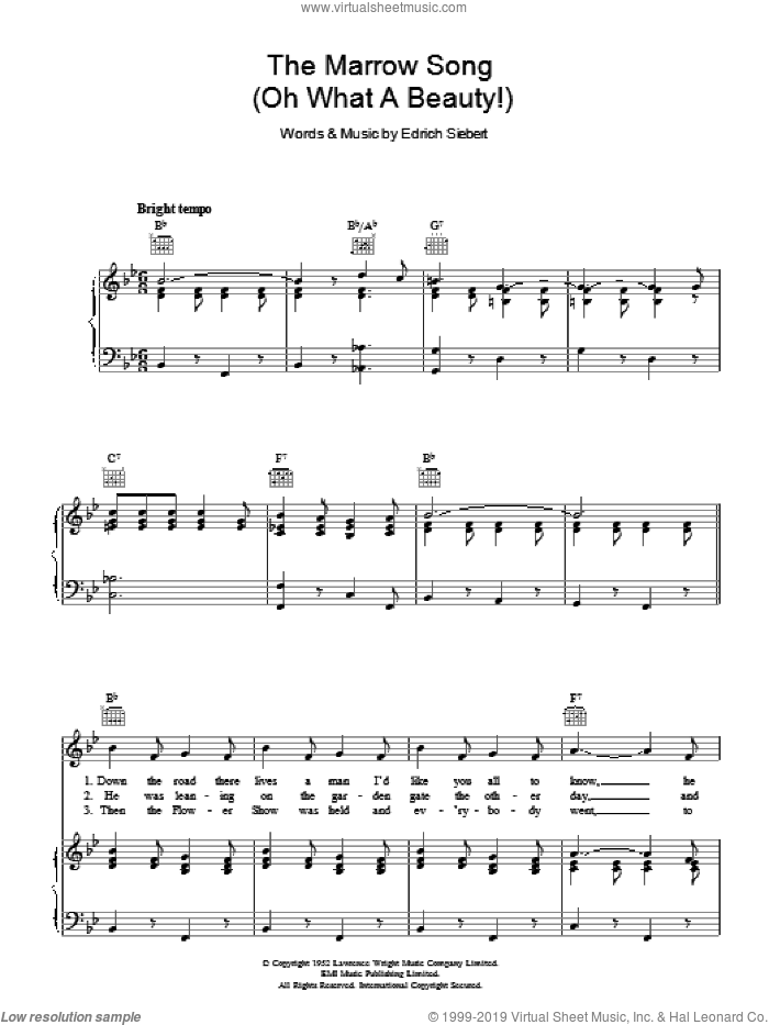 The Marrow Song (Oh What A Beauty) sheet music for voice, piano or guitar by Edrich Siebert. Score Image Preview.