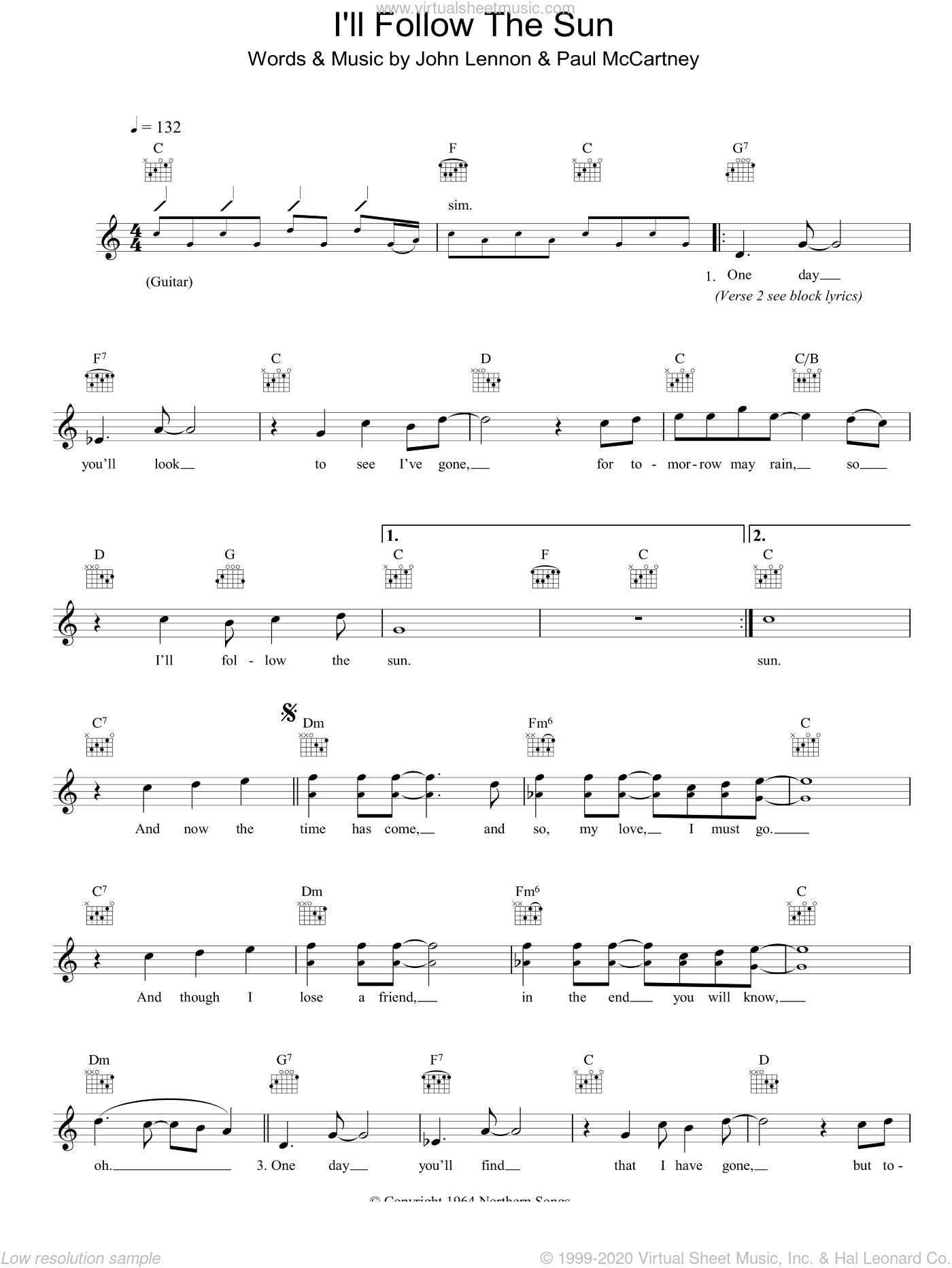 I'll Follow The Sun sheet music for voice and other instruments (fake book) by The Beatles, John Lennon and Paul McCartney, intermediate skill level