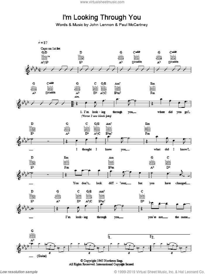 I'm Looking Through You sheet music for voice and other instruments (fake book) by The Beatles, John Lennon and Paul McCartney, intermediate. Score Image Preview.
