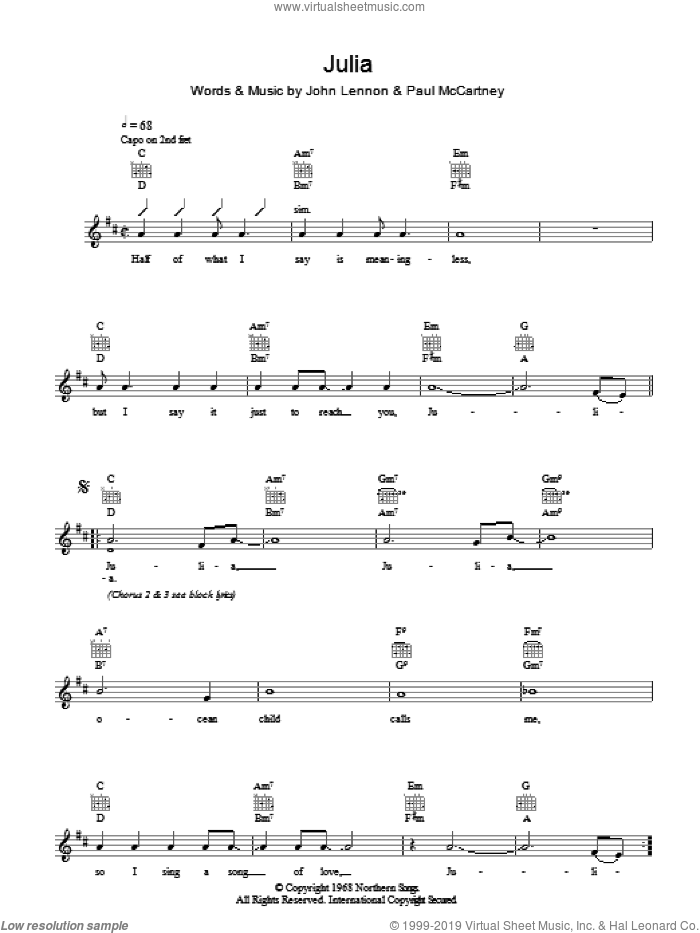 Julia sheet music for voice and other instruments (fake book) by John Lennon, The Beatles and Paul McCartney. Score Image Preview.