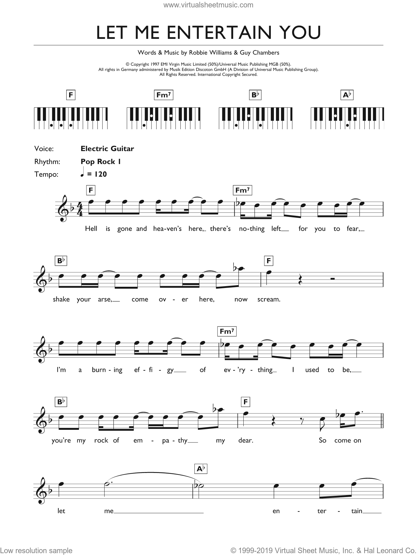 Let Me Entertain You sheet music for piano solo (chords, lyrics, melody) by Robbie Williams. Score Image Preview.