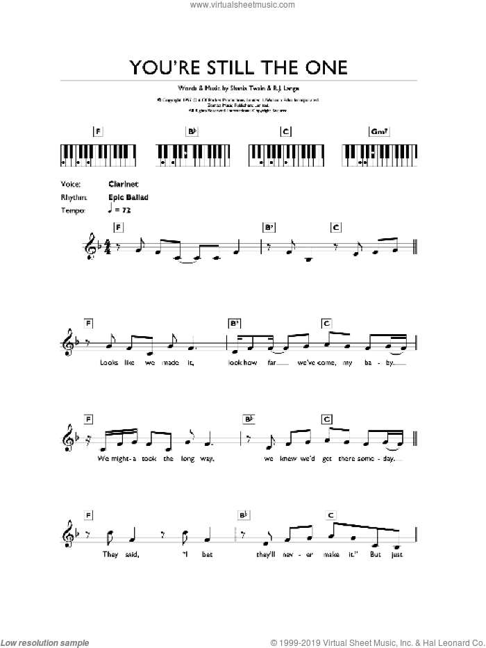 You're Still The One sheet music for piano solo (chords, lyrics, melody) by Shania Twain and Robert John Lange, intermediate piano (chords, lyrics, melody)
