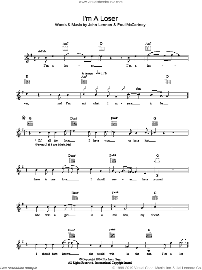 I'm A Loser sheet music for voice and other instruments (fake book) by The Beatles, John Lennon and Paul McCartney. Score Image Preview.