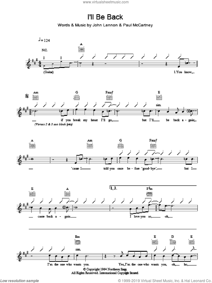 I'll Be Back sheet music for voice and other instruments (fake book) by The Beatles, John Lennon and Paul McCartney, intermediate skill level
