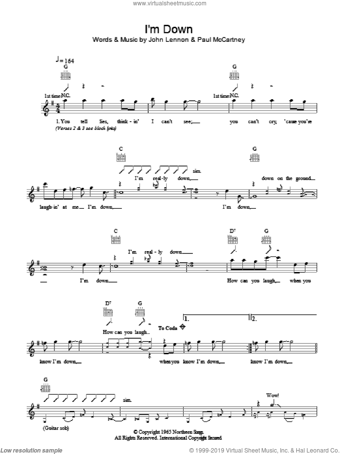 I'm Down sheet music for voice and other instruments (fake book) by John Lennon, The Beatles and Paul McCartney. Score Image Preview.