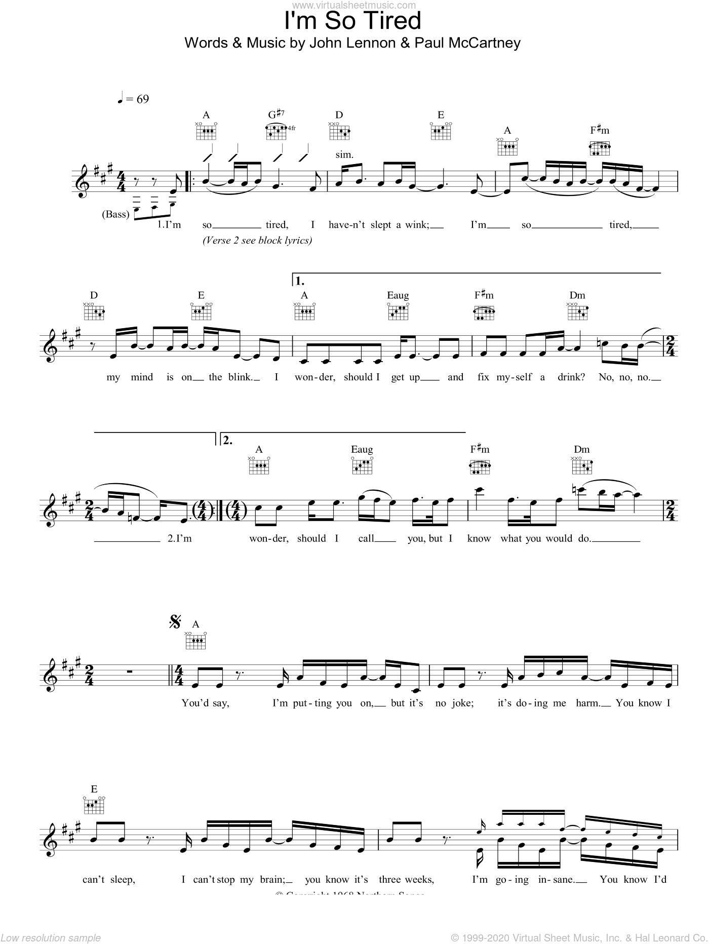I'm So Tired sheet music for voice and other instruments (fake book) by John Lennon