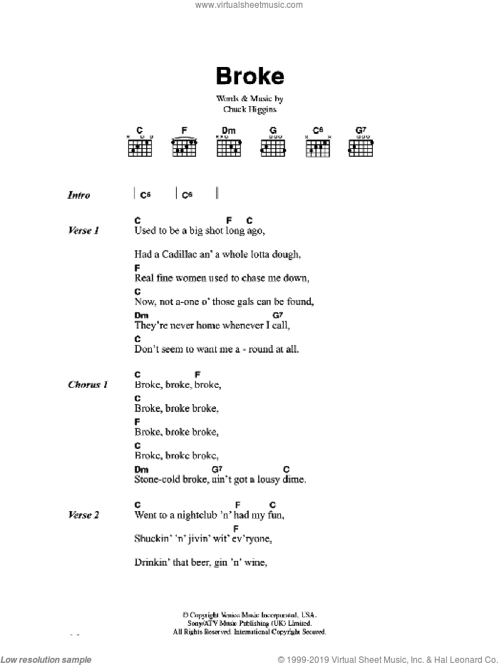 Broke sheet music for voice, piano or guitar by Chuck Higgins