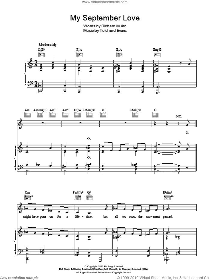 My September Love sheet music for voice, piano or guitar by Tolchard Evans. Score Image Preview.