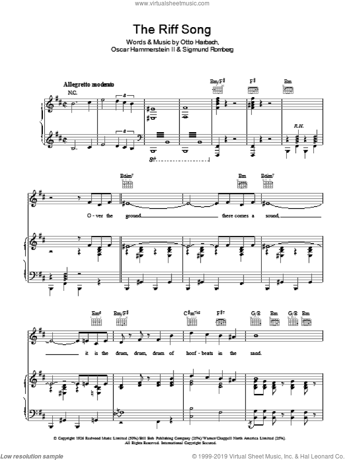 The Riff Song sheet music for voice, piano or guitar by Sigmund Romberg