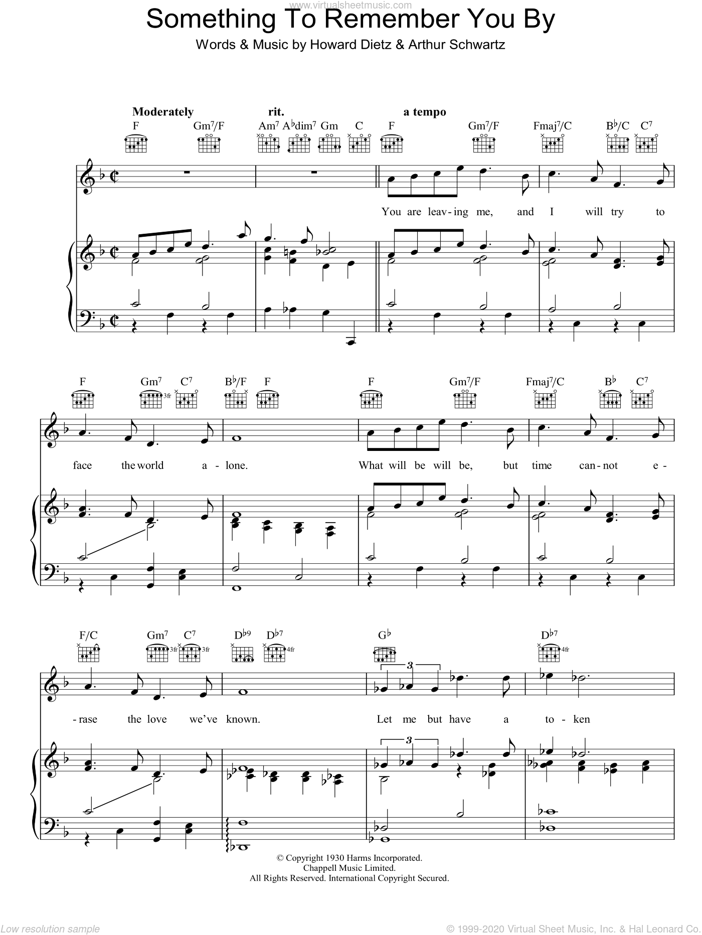 Something To Remember You By sheet music for voice, piano or guitar by Vera Lynn, Arthur Schwartz and Howard Dietz, intermediate skill level