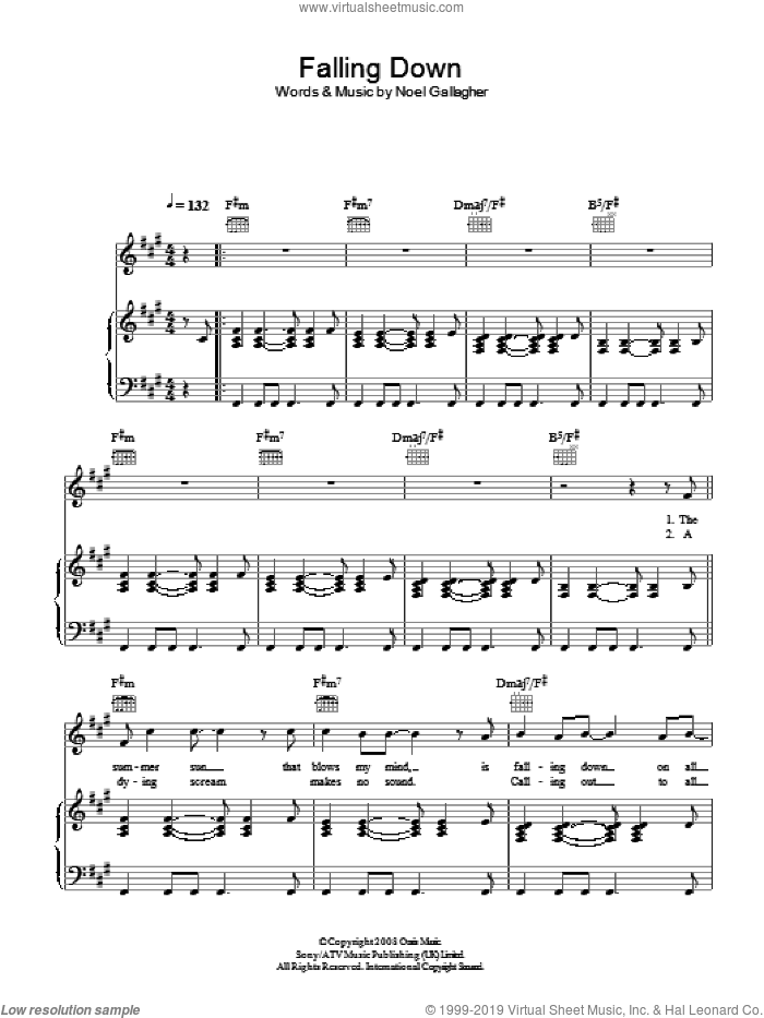 Falling Down sheet music for voice, piano or guitar by Oasis and Noel Gallagher, intermediate skill level