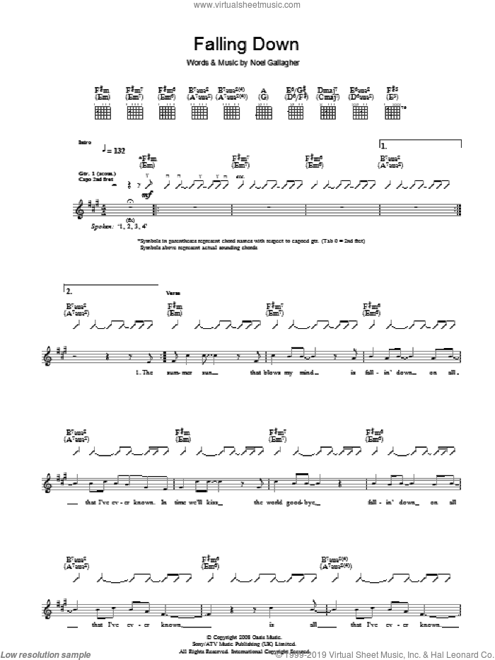 Falling Down sheet music for guitar (tablature) by Oasis and Noel Gallagher. Score Image Preview.