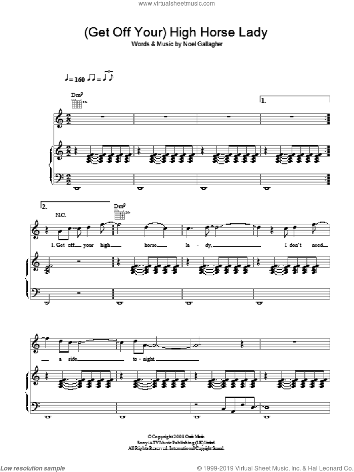 (Get Off Your) High Horse Lady sheet music for voice, piano or guitar by Oasis and Noel Gallagher, intermediate skill level
