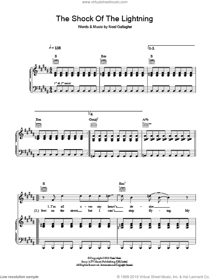 The Shock Of The Lightning sheet music for voice, piano or guitar by Oasis and Noel Gallagher, intermediate voice, piano or guitar. Score Image Preview.