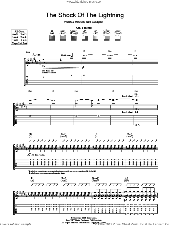 The Shock Of The Lightning sheet music for guitar (tablature) by Noel Gallagher and Oasis. Score Image Preview.