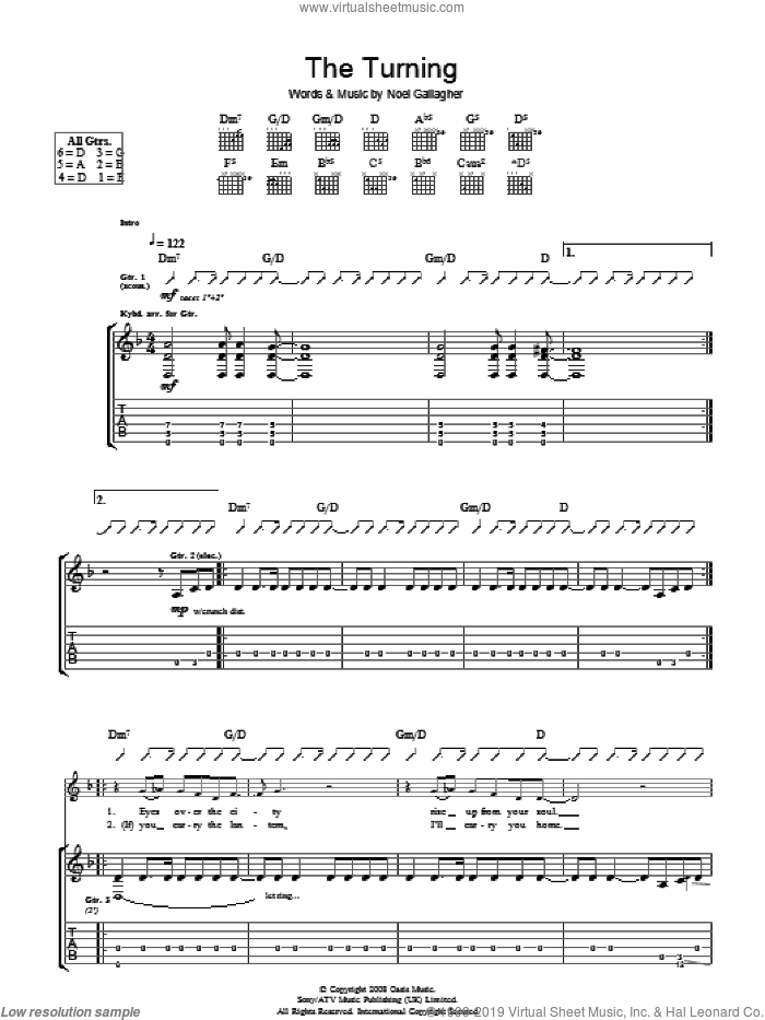 The Turning sheet music for guitar (tablature) by Noel Gallagher and Oasis. Score Image Preview.