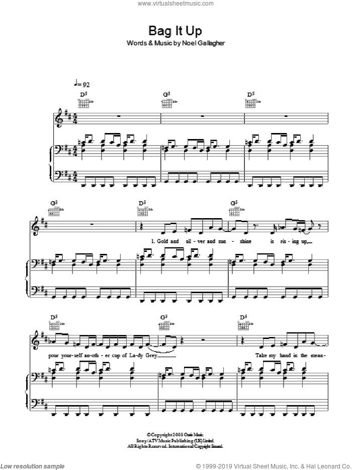 Bag It Up sheet music for voice, piano or guitar by Noel Gallagher and Oasis. Score Image Preview.