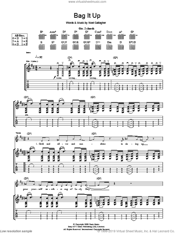 Bag It Up sheet music for guitar (tablature) by Oasis and Noel Gallagher. Score Image Preview.