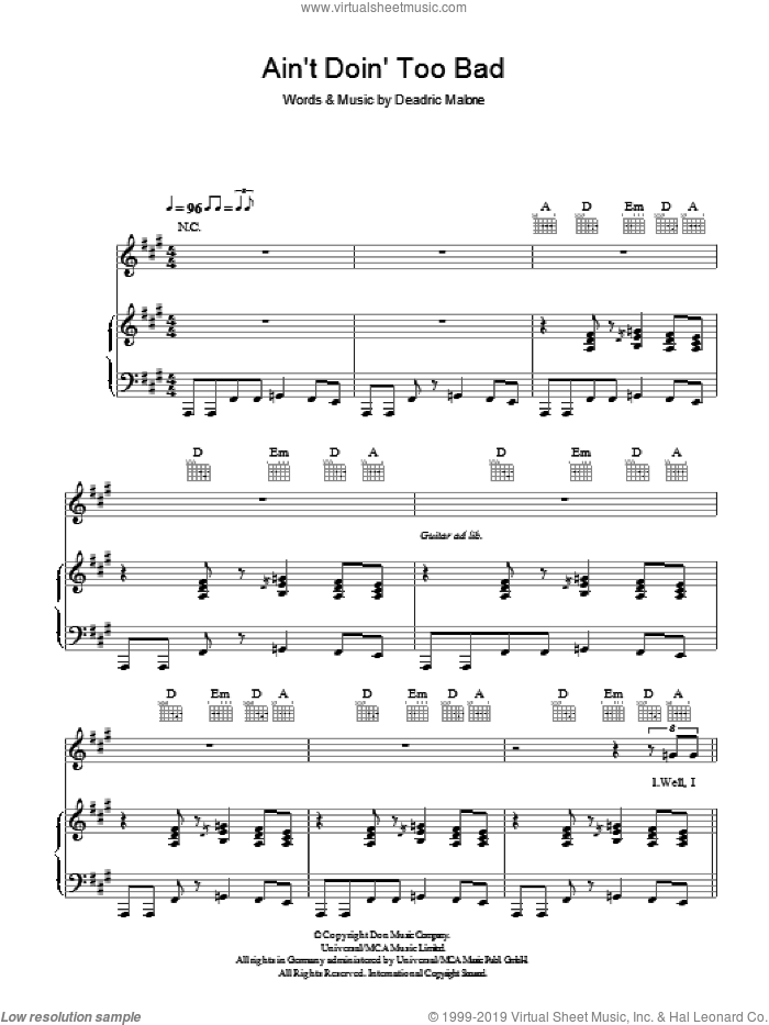 Ain't Doin' Too Bad sheet music for voice, piano or guitar by Deadric Malone