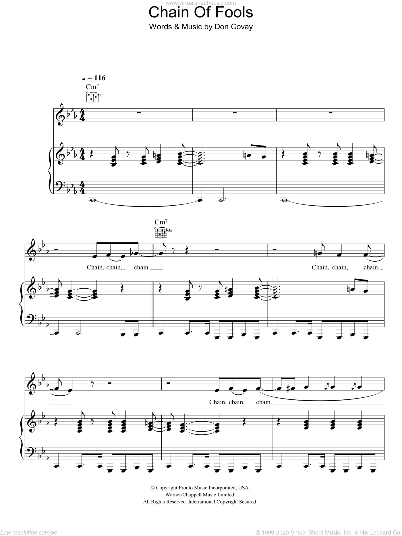 Chain Of Fools sheet music for voice, piano or guitar by Don Covay