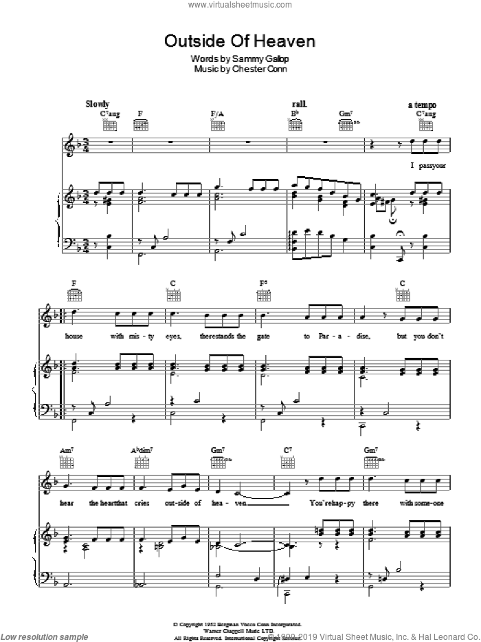 Outside Of Heaven sheet music for voice, piano or guitar by Eddie Fisher and Sammy Gallop, intermediate. Score Image Preview.