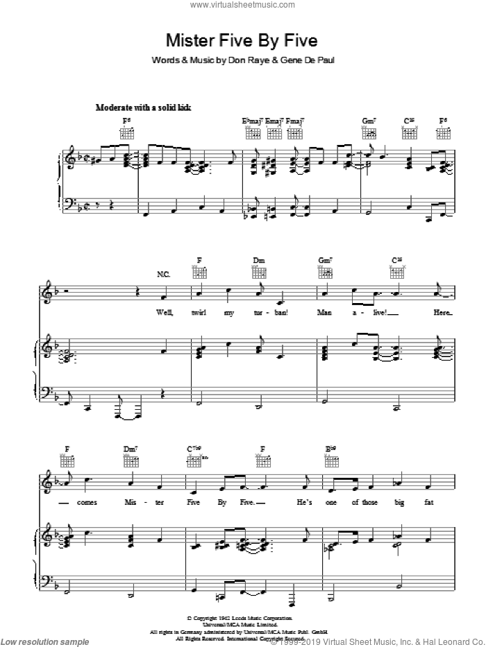 Mister Five By Five sheet music for voice, piano or guitar by Don Raye and Gene DePaul. Score Image Preview.