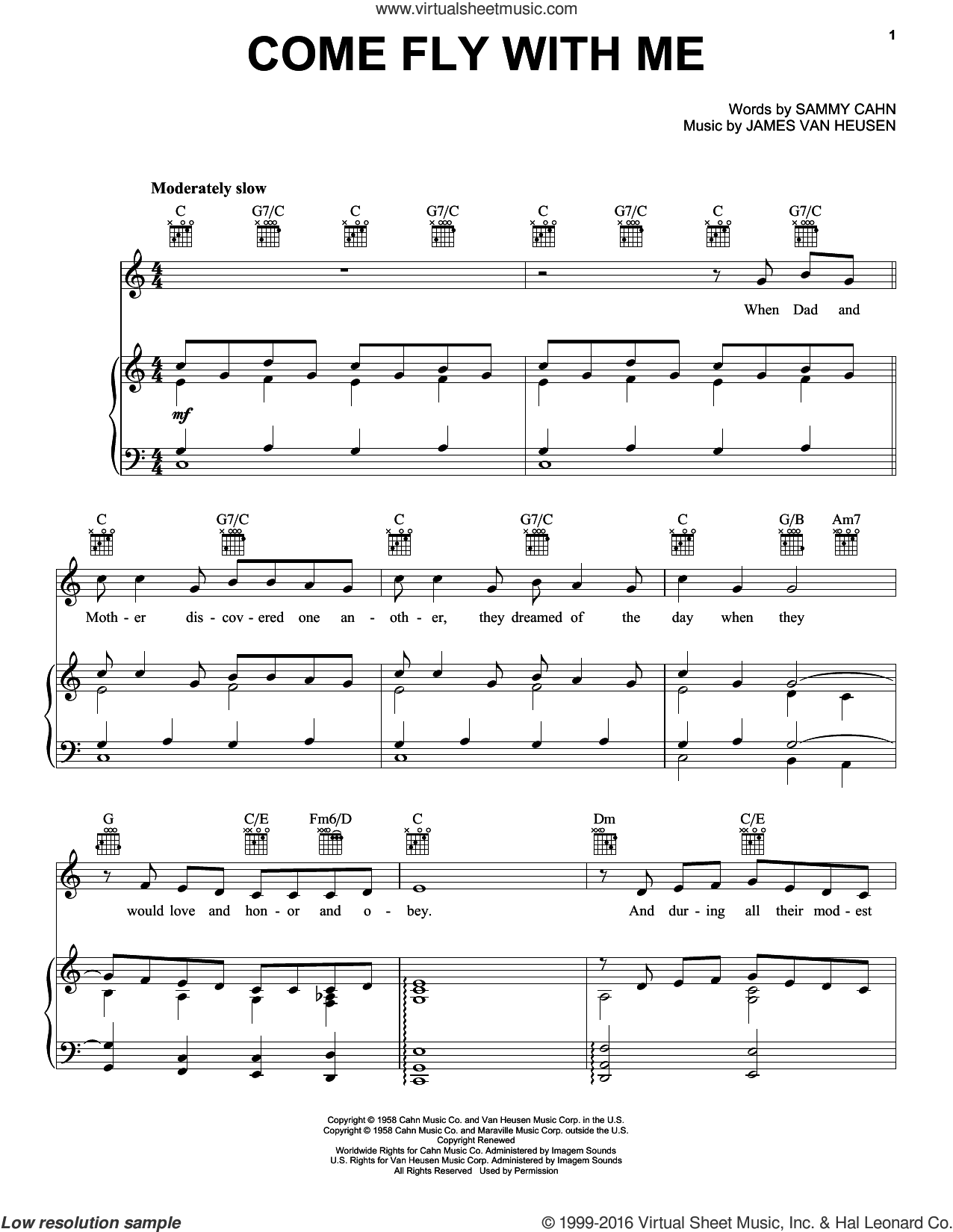 Come Fly With Me sheet music for voice, piano or guitar by Sammy Cahn
