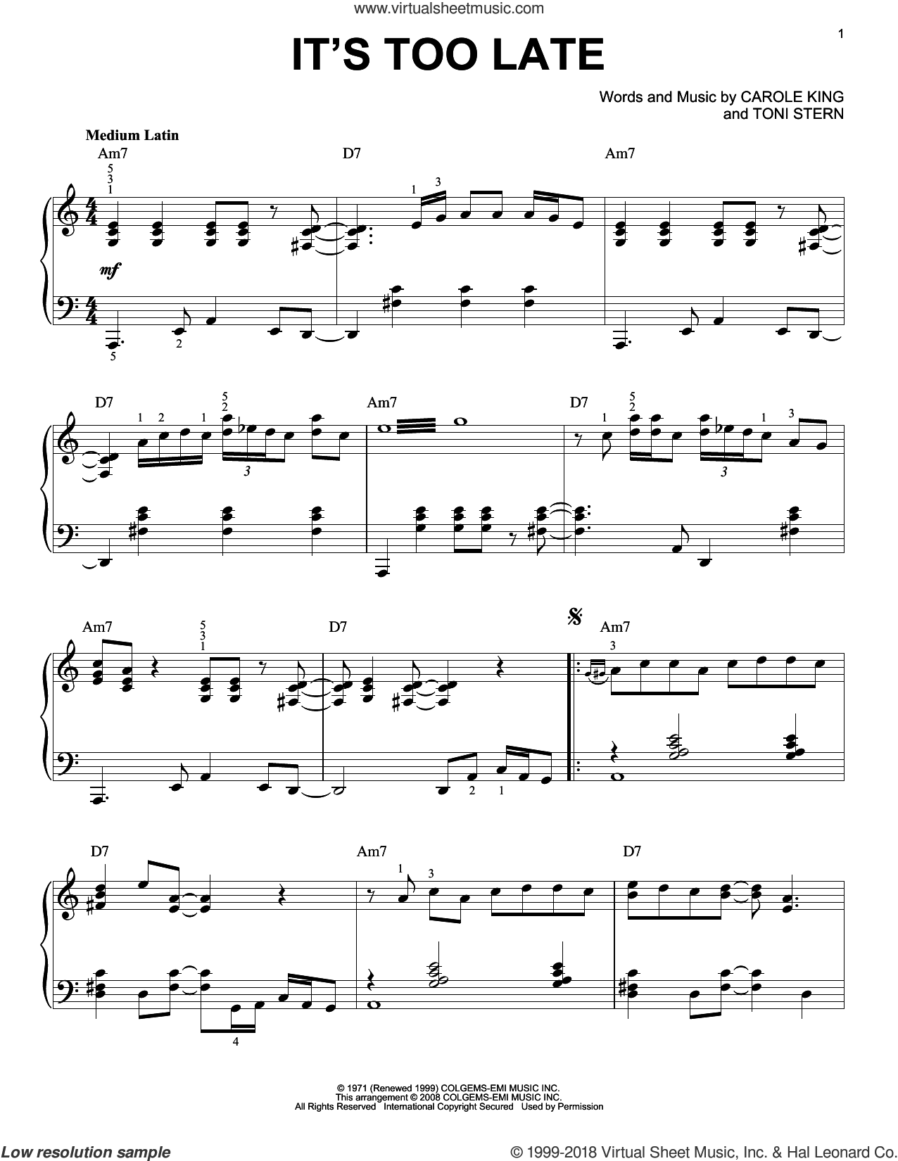 It's Too Late sheet music for piano solo by Toni Stern