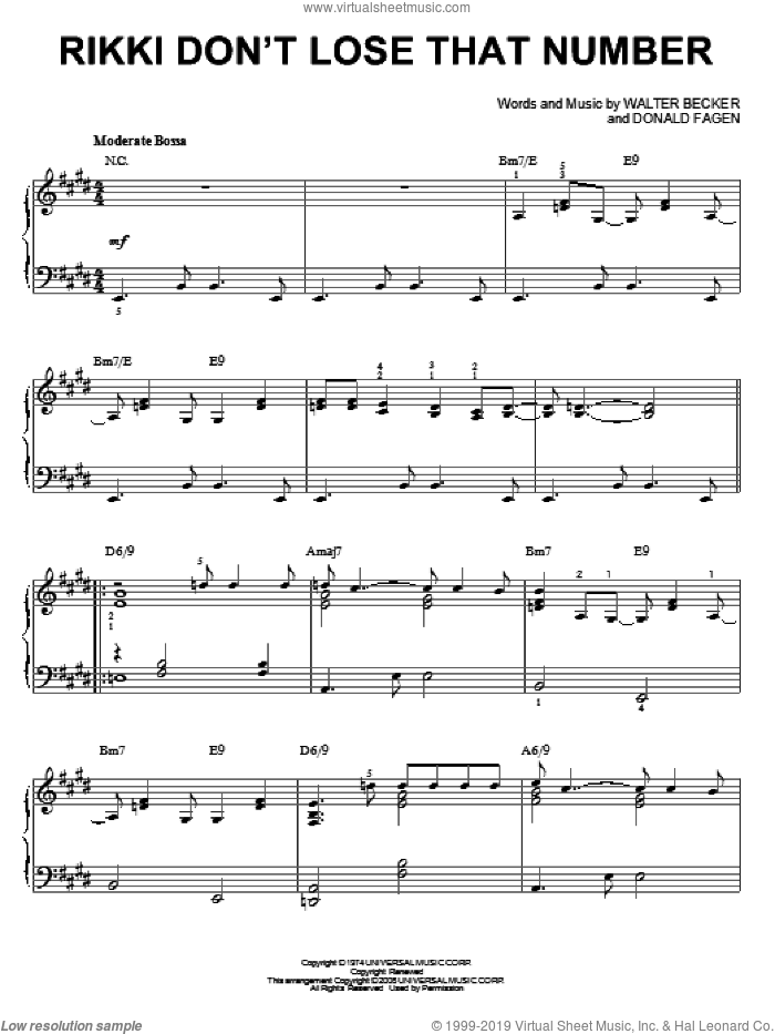 Rikki Don't Lose That Number sheet music for piano solo by Steely Dan, Donald Fagen and Walter Becker, intermediate skill level