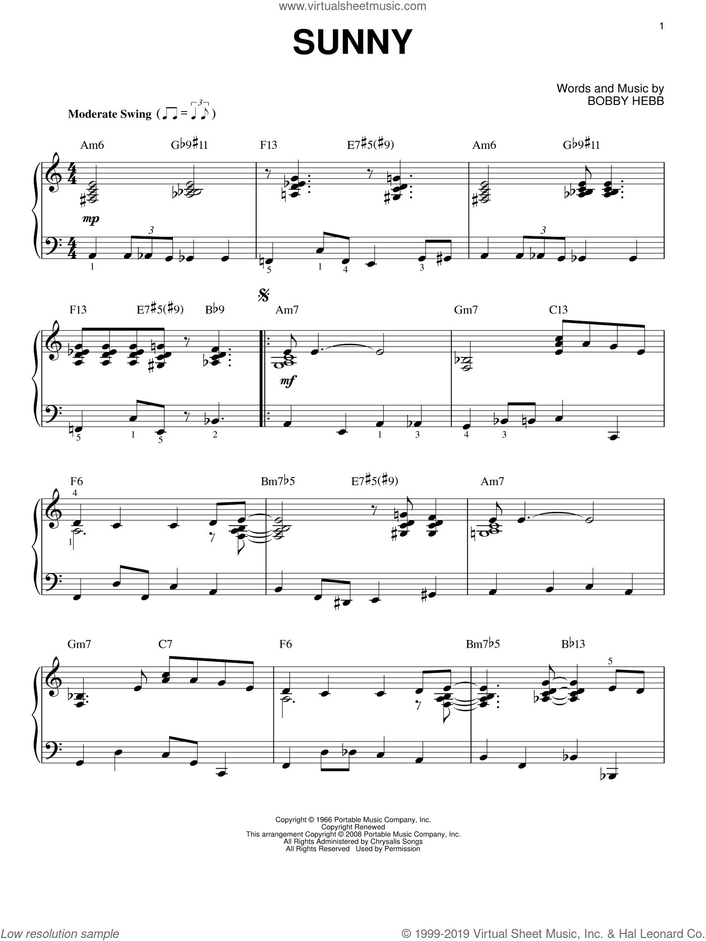 Sunny sheet music for piano solo by Bobby Hebb