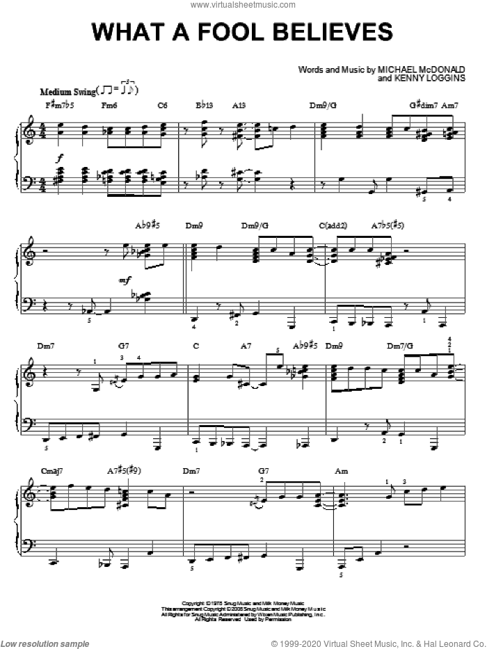 What A Fool Believes [Jazz version] (arr. Brent Edstrom) sheet music for piano solo by The Doobie Brothers, Kenny Loggins and Michael McDonald, intermediate skill level