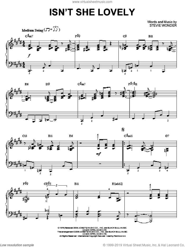 Isn't She Lovely sheet music for piano solo by Stevie Wonder, intermediate skill level