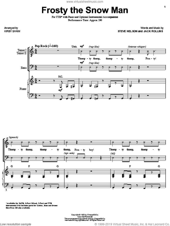 Frosty The Snow Man sheet music for choir (TTB: tenor, bass) by Steve Nelson, Jack Rollins and Kirby Shaw, intermediate skill level