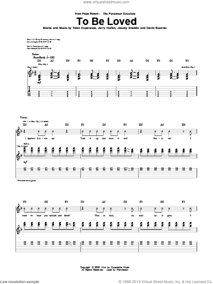 To Be Loved sheet music for guitar (tablature) by Papa Roach, Jacoby Shaddix, Jerry Horton and Tobin Esperance. Score Image Preview.